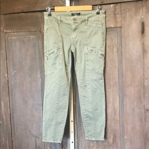 WHBM mid rise skinny crop jeans green